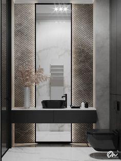 Bathroom Paneling, Hall Bathroom, Modern Bathroom, Washroom, Modern Luxury, Modern Interior, Interior Design, Bathroom Design Luxury, Bathroom Interior