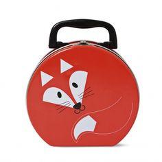 Den runde metalmadkasse med håndtag er blevet udsmykket med Tigers eget rævedesign og går med dig hjem for en tyver.