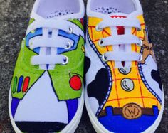 Painted Shoes Disney Painted Shoes Toy by ThePaintedShoeDesign Disney Painted Shoes, Painted Canvas Shoes, Painted Sneakers, Disney Shoes, Hand Painted Shoes, Disney Outfits, On Shoes, Me Too Shoes, Baby Shoes
