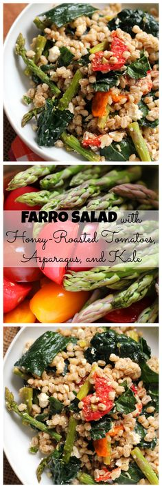 A hearty side or lunch salad, this farro salad with honey-roasted garlic tomatoes, asparagus, and kale is a celebration of healthy eating! #TheStrengthIsInUs
