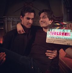 Ian with Chris on the TVD set. That's a wrap! 4/2/15