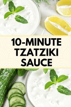 Make this Tzatziki Sauce! This cool, refreshing sauce is great on a veggie sandwich or used as a dip for pita chips or crunchy veggies. It stores well, refrigerated, for up to 5 days. Cucumber Recipes, Lemon Recipes, Sauce Recipes, Tzatziki Recipes, Free Recipes, Easy Healthy Recipes, Quick Easy Meals, Vegetarian Recipes, Delicious Recipes