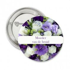 Button of sleutelhanger Purple Flowers