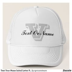 Shop Text Your Name Initial Letter Personalize Monogram Trucker Hat created by eprocentteam. Personalize it with photos & text or purchase as is! Popular Colors, Animal Skulls, Custom Hats, Initial Letters, Text You, White Shop, Pink And Green, Hot Pink, Initials