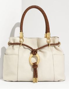 MICHAEL Michael Kors Skorpios Drawstring Satchel Vanilla Leather
