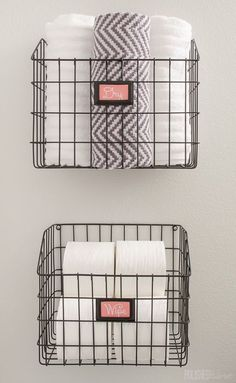 Mount baskets on the wall to add bathroom storage without paying for a pricey cabinet.