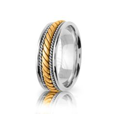 Handwoven Two Tone Yellow-white-yellow Gold Polish Braided Coil Twist Wedding Band Solid Gold, White Gold, Handmade Wedding Rings, Gold Polish, Wedding Bands, Rose Gold, Engagement Rings, Metal, Yellow