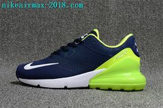 9e12563fb9b7 Nike Air Max 270 KPU New Style Mens Running Shoes For Sale Navy Blue White  Green