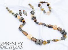 Camouflage Stone & Tiger Eye Jewelry Set by KJPresley Designs  http://www.kjpresleydesigns.com/ #jewelry #necklace #bracelet #earrings @KJPresleyDesgns