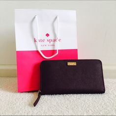 ✨Brand new! Kate Spade Neda in Mulled Wine Saff. L In the deepest, richest burgundy, this wallet stands out like no other.  Kate Spade really did a good job picking colors this season! This also comes in the lacquered finish instead of Saffiano leather that is to die for!!! Gorgeous design and color! kate spade Bags Wallets