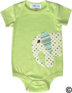 Lime Dot Elephant Onesie-Lime Dot Elephant Onesie,unique appliqued onesie,infant bodysuit,baby onesie,baby shower gift