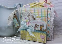 Easter Traditions - Mini Album at Vintage in KC using Authentique Papers.  Easter Mini Album Class & Kit. www.sheila.rumney.com