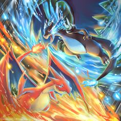 Hello everyone! I've got a lot of work at my university last month. So I spended a lot of time to finish this work. Charizard X VS Chariz. Pokemon : X VS Y Charmander Charmeleon Charizard, Pichu Pokemon, Pokemon Rayquaza, Cool Pokemon Wallpapers, Cute Pokemon Wallpaper, Animes Wallpapers, Mega Evolution Pokemon, Mega Pokemon, Pokemon Fusion Art