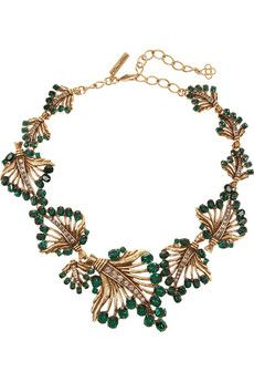 Vintage inspired statement necklace with emerald and gold. Can be worn for a special occasion OR with your everyday attire, adding the wow factor. #layeredny Oscar de la Renta Gold-plated crystal leaf necklace | NET-A-PORTER