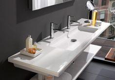 New bath room modern storage trough sink Ideas Modern Bathroom Sink, Bathroom Sink Vanity, Large Bathrooms, Office Bathroom, Beach Bathrooms, Diy Vanity, Master Bathroom, Bathroom Renovation Cost, Bathroom Makeovers