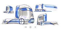 New Mercedes-Benz GenH2 Fuel-Cell Semi Concept Previews Production Model Coming Soon | Carscoops Mercedes Benz Trucks, New Mercedes, Lights Band, Cell Model, Hydrogen Fuel, Truck Design, Car Sketch, New Trucks, Transportation Design