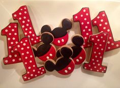 Mickey Mouse and Number Sugar Cookies 1 dozen by LaPetiteCookie Minnie Mouse Cookies, Minnie Mouse Theme Party, Disney Cookies, Mickey Mouse Clubhouse Birthday, Mickey Mouse Parties, Mickey Party, Mickey Mouse Birthday, Mickey Minnie Mouse, 1st Birthday Foods
