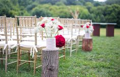 simple outdoor wedding ceremony decorations | lace tree stumps and roses | Adoniram & Lucy's Brazilian, Red & Gold Wedding at the Lodge at Little Seneca Creek in Maryland | Images: Daysy Photography