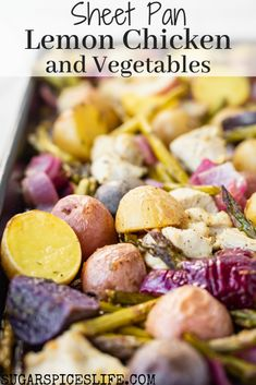 This Sheet Pan Lemon Chicken with Vegetables is quick and easy to throw together on a weeknight, but is full of flavor and will satisfy your family with just one dish! Vegetable Prep, Vegetable Recipes, Best Chicken Recipes, Great Recipes, Favorite Recipes, Brunch, Recipe Sheets, Nutrition, Lemon Chicken