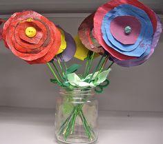 painted newspaper flowers