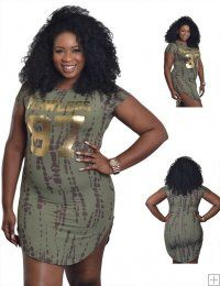 'FLAWLESS 81' GOLD PRINTED OLIVE TIE DYE DRESS WITH CURVED SIDE SLIT  WHOLESALE PLUS SIZE DRESSES  F7410 UNIT PRICE$10.75 1-1-1PACKAGE 3PCS