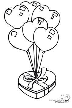 Regalo globos de corazones - Dibujalia - Dibujos para colorear ... Batman Silhouette, Coloring Books, Coloring Pages, Cartoon Sketches, Pet Rocks, Embroidery Patterns, Cardmaking, Clip Art, Valentines