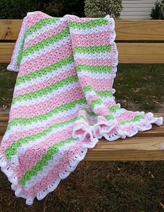 It's a very easy blanket with repetitive stitch and very girly ruffles.
