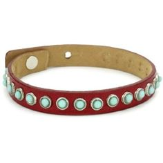 Streets Ahead Turquoise Stud on Red Leather Cuff Bracelet