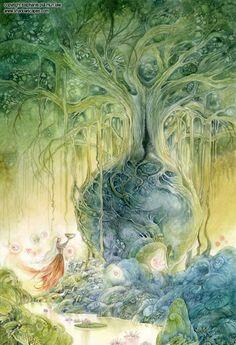 Stephanie Law - watercolor painter, botanical illustrator and artist of fantastical dreamworld imagery. Fantasy Images, Fantasy Art, Illustrator, Earth Design, Visionary Art, Fantasy Landscape, Fairy Art, Pics Art, Tree Art