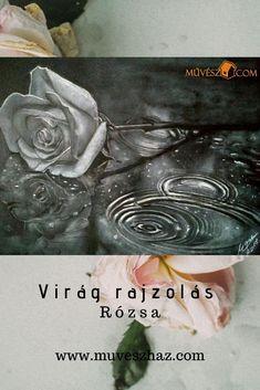 Virág rajzolás: hogyan rajzolj rózsát? Virág rajzok lépésről lépésre: Asd, Painting, Painting Art, Paintings, Painted Canvas, Drawings