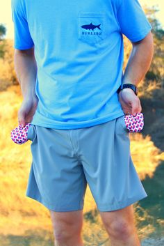 Stone Gray Shorts - American Flag Pockets