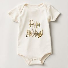 Happy Holidays! Gold Typography Christmas Baby Bodysuit - Xmas ChristmasEve Christmas Eve Christmas merry xmas family kids gifts holidays Santa