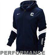 Nike UCONN Huskies Ladies Full Zip Performance Hoodie Jacket - Navy Blue