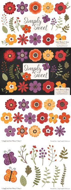 Autumn Flowers Clipart. Wedding Card Templates