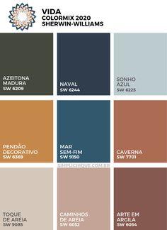 Naval: a cor do ano 2020 da Sherwin-Williams Bathroom Paint Colors, Interior Paint Colors, Paint Colors For Living Room, Paint Colors For Home, Bedroom Colors, House Colors, Paint Color Schemes, Colour Pallete, Pantone 2020