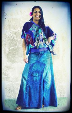 Upcycled Vintage Silk Kimono Top £59 & Denim Maxi Skirt £49 by Darryl Black Available on https://www.etsy.com/shop/darrylblack