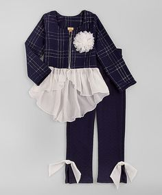 Love this Navy & Silver Peplum Jacket & Pants - Toddler & Girls by Mia Belle Baby on #zulily! #zulilyfinds