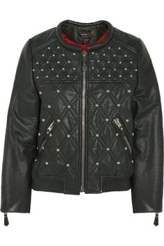 Isabel Marant bloomen quilted leather bomber jacket #THEOUTNET #BestDressed