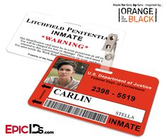 Orange is the New Black Inspired Litchfield Penitentiary Inmate Wearable ID Badge - Carlin, Stella