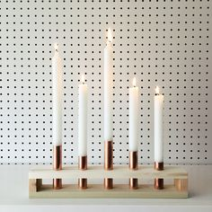 Wood and Copper Candle Holder | Wedding, Danish, Mid Century, Modern, Scandinavian