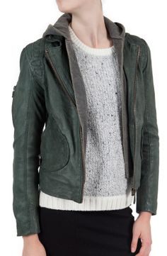 #doma Detachable Hood Jacket $730.00- love the #greenleather #giftideas #perfectleatherjacket #hoodie