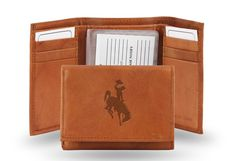 Wyoming Cowboys Embossed Leather Trifold/Wallet