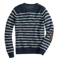 J.Crew Rustic merino elbow-patch sweater in stripe