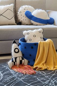 Rocket Cushion design by Lorena Canals Baby Decor, Kids Decor, Kids Bedroom, Bedroom Themes, Space Themed Nursery, Kids Pillows, Baby Boy Rooms, Kid Spaces, Cushions