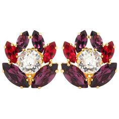 Dolce & Gabbana Crystal Embellished Clip-on Earrings (15,930 PHP) ❤ liked on Polyvore featuring jewelry, earrings, purple, clip back earrings, clip earrings, dolce gabbana earrings, purple jewelry and clip-on earrings