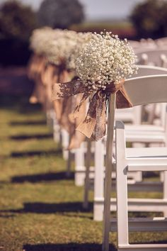 Rustic & Romantic Burlap & Peach Wedding Aisle Chair Décor. Source: the every last detail. #chairdecor #burlap: Babies Breath, Ideas, Peach Weddings, Romantic Wedding Decoration, Baby'S Breath, Romantic Burlap, Baby Breath, Rustic Wedding Chair, Aisle Decor