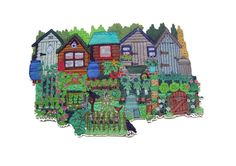 Janet Browne Textiles - Allotments, gardens and hens 5 small allotments Free Motion Embroidery, Hand Embroidery, Machine Embroidery, Ribbon Crafts, Fabric Crafts, Map Quilt, Textiles, Sewing Appliques, Textile Artists