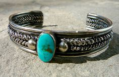 Vintage Navajo Sterling Cuff • Native American Turquoise Jewelry