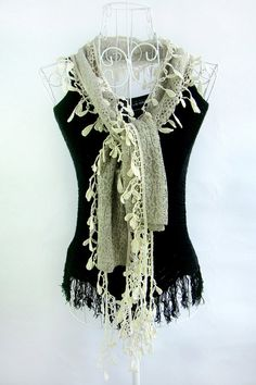 Rice yellow lace fashion joker spring and autumn scarf by xyuezw, $15.00
