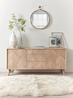 chevron oak sideboard in dining room design, neutral dining room decor with buffet decor, console table in living room decor wohnzimmer, Chevron Oak Sideboard Sideboard Dekor, Oak Sideboard, Hallway Sideboard, Credenza Decor, Retro Sideboard, Sideboard Furniture, Modern Sideboard, Luxury Home Furniture, Furniture Design